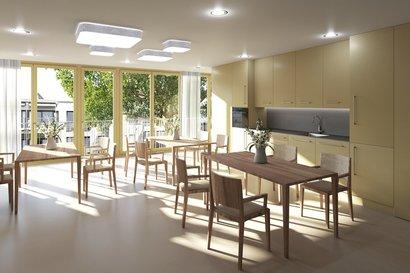 gemütliche Wohnstube mit Küchenkombination