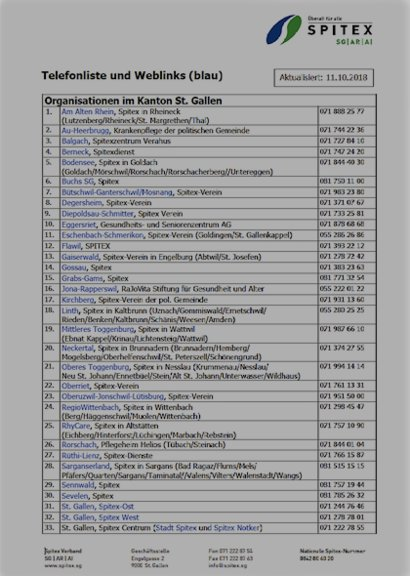 Telefonliste aller Organisationen in SG|AR|AI